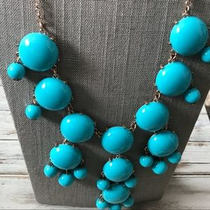 Jewelry - Large turquoise bubble Statement necklace in gold